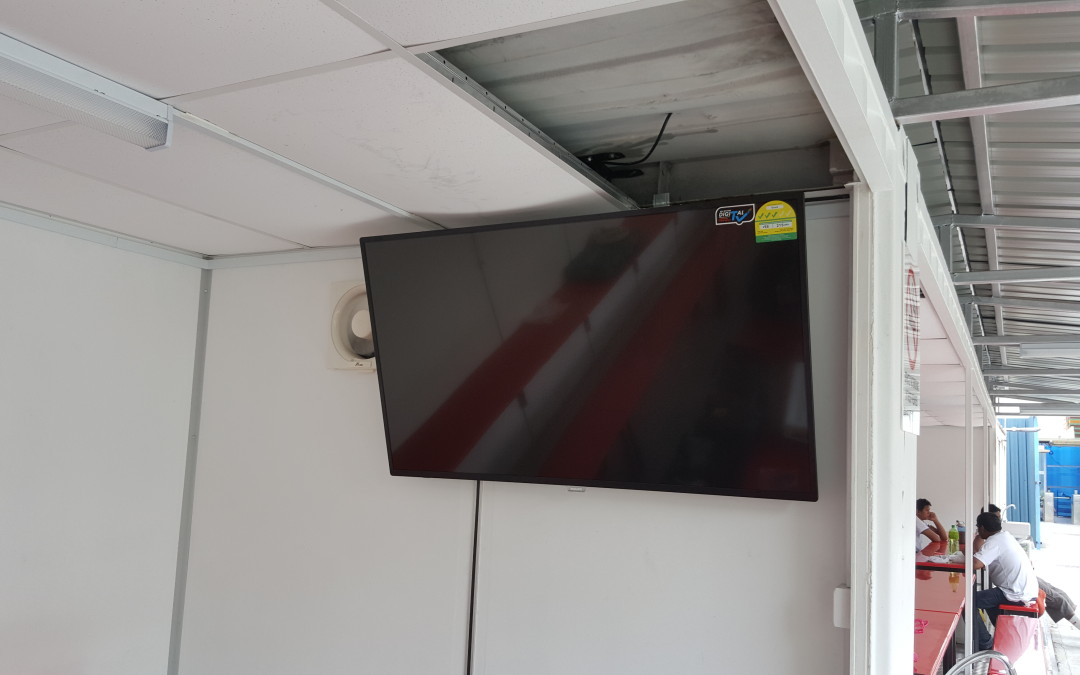 TV Ceiling Mount on Solid Metal Container