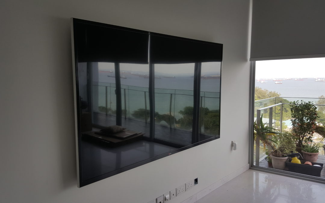 75″ TV Mounted on Partition Board